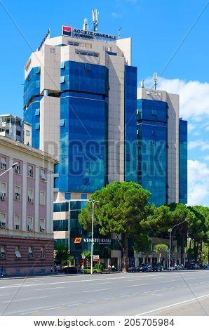 TIRANA ALBANIA - SEPTEMBER 6 2017: Complex of buildings Tirana Twin Tovers on Boulevard of Martyrs (Bulevardi Deshmoret e Kombit) Tirana Albania