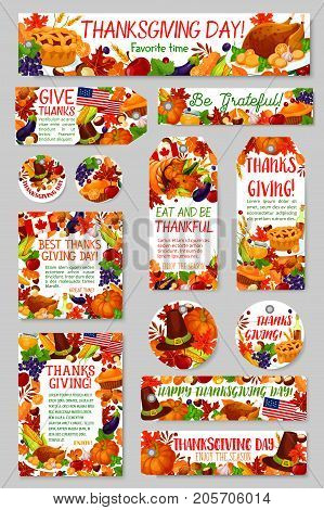 Thanksgiving Day and autumn harvest holiday gift tag set. Cornucopia with fall maple leaf, pumpkin, corn vegetable, roast turkey, apple fruit, pie, pilgrim hat for Thanksgiving greeting card design