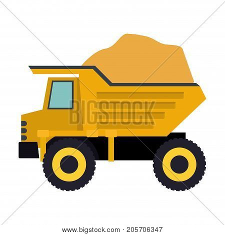 dump truck with load in colorful silhouette vector illustration