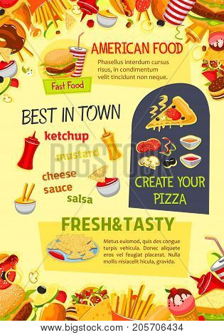 Fast food poster of pizza, burgers or sandwiches and fastfood desserts. Vector template of cheeseburger, hamburger or hot dog, ice cream and popcorn, coffee or soda drink for bistro or restaurant menu
