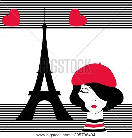 Fashion pop-art girl in Paris. Stock vector illustration on black and white stripped background for glamour lifestyle in minimalistic style.