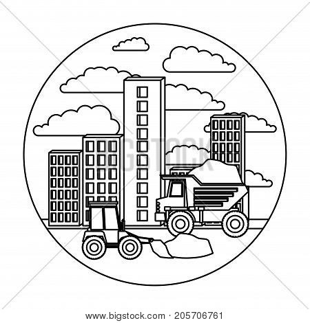 building set city landscape construction with dump truck and bulldozer in circular shape monochrome silhouette vector illustration