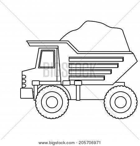 dump truck with load in monochrome silhouette vector illustration