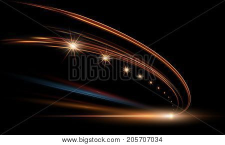 Vector illustration of dynamic lights in dark. High speed road in night time abstraction. City road car light trails motion background