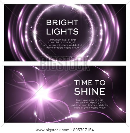 Light flash or lightning shine effect of spark burst. Vector glittering bright lights and sparkling glitter beams or ray with shiny twinkling stars and radial illumination with purple color background poster