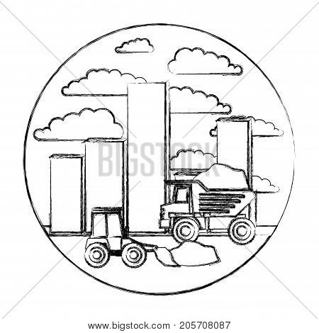 building set city landscape construction with dump truck and bulldozer in circular shape monochrome blurred silhouette vector illustration