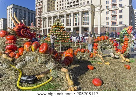Two Figures Of Fairy-tale Dragons, Made Of Ripe Orange Pumpkins