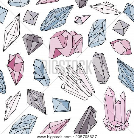 Colorful seamless pattern with gorgeous natural gemstones, mineral crystals, precious and semiprecious faceted stones hand drawn on white background. Vector illustration for wallpaper, fabric print
