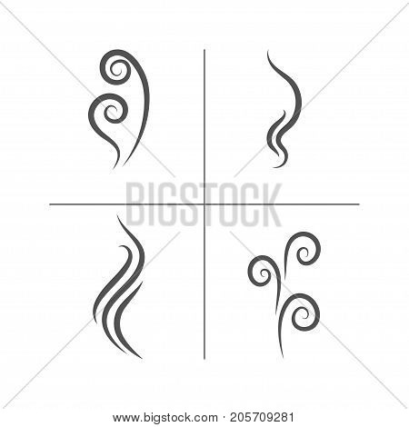 Smell aroma and heat sign set. Stock vector illustration of odor and scent or hot vapor silhouettes by black lines isolated on white background.