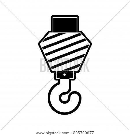 crane hook flat icon black silhouette vector illustration