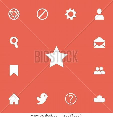 Set Of 13 Editable Network Icons. Includes Symbols Such As Profile, Bookmark, Tag And More