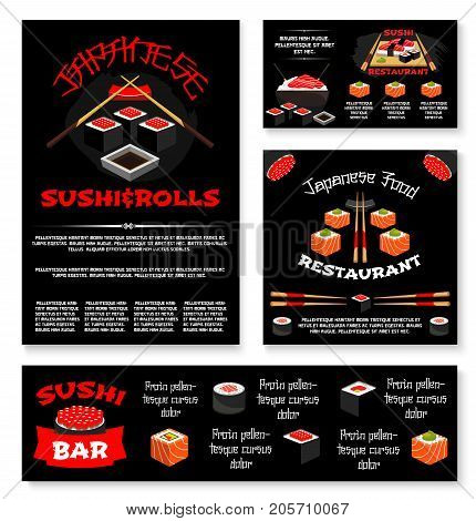 Sushi bar or Japanese restaurant banners and posters templates set. Vector menu of sushi rolls, tuna or salmon fish sashimi and unagi maki or Philadelphia sushi, bento lunch, rice and chopsticks