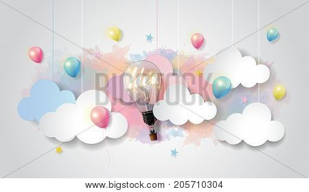 Light bulb balloon on colorful watercolor sky and cloud background, Business startup concept, paper cut design style, vector illustration