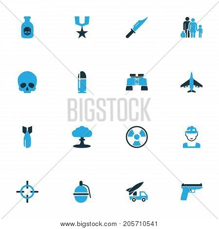 Warfare Colorful Icons Set. Collection Of Binoculars, Bio Hazard, Refugee And Other Elements