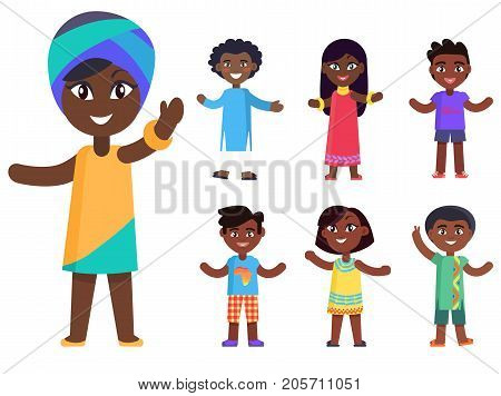 Cartoon afro-american girl in national headcover and her friends isolated vector illustrations set. Pretty kids with black skin celebrate day of child