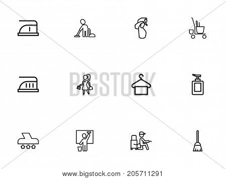Set Of 12 Editable Hygiene Outline Icons. Includes Symbols Such As Vacuum Cleaner, Trolley, Fluid Soap And More