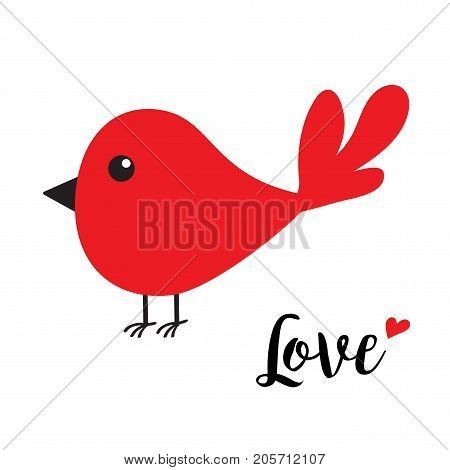 Red bird. Happy Valentines Day. Cute cartoon character. Word Love text with red heart. Greeting card. Cute cartoon character set. Flat design. White background. Isolated. Vector illustration