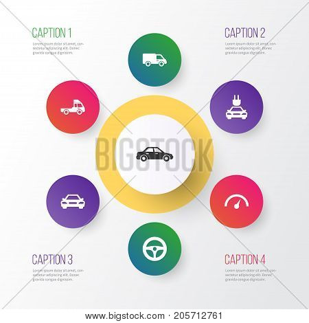 Car Icons Set. Collection Of Drive Control, Plug, Automobile And Other Elements