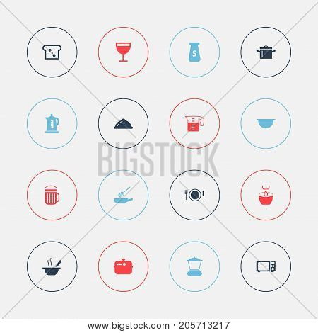 Set Of 16 Editable Cooking Icons. Includes Symbols Such As Dish, Water Jug, Kettle And More