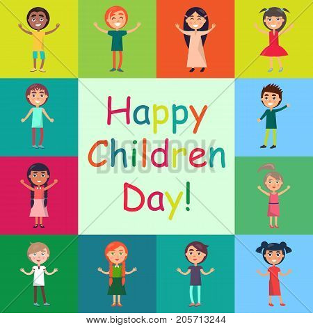 Happy children day greeting card design. Active kids multi nationalities on colorful background vector poster. Celebrating global international holiday concept