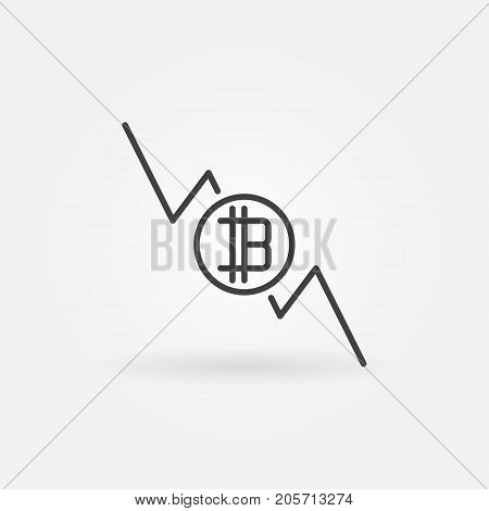 Bitcoin graph falls icon - vector cryptocurrency decline concept symbol in thin line style