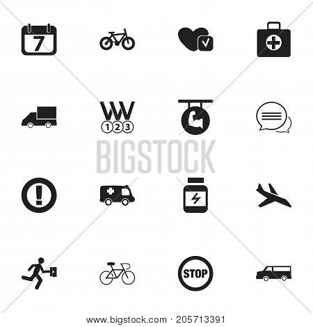 Set Of 16 Editable Mixed Icons. Includes Symbols Such As Protein, Stop, First Aid Box And More