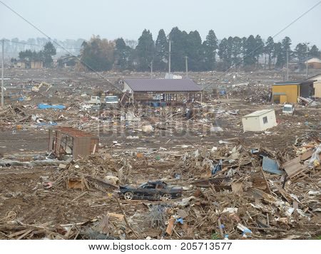the effects of the tsunami in Japan. shaterred terrain