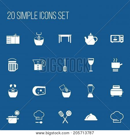 Set Of 20 Editable Cooking Icons. Includes Symbols Such As Chef Cap, Saucepan, Cuisine Tools And More