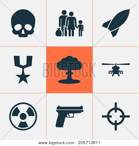 Warfare Icons Set. Collection Of Cranium, Atom, Chopper And Other Elements