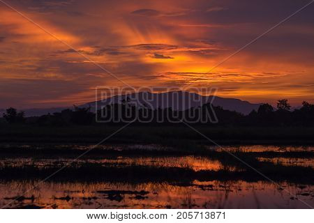 sunset and sunrise time nature background and empty area for text feeling love or romantic background in nature sky background with cloud nature background in sunset or sunrise time.