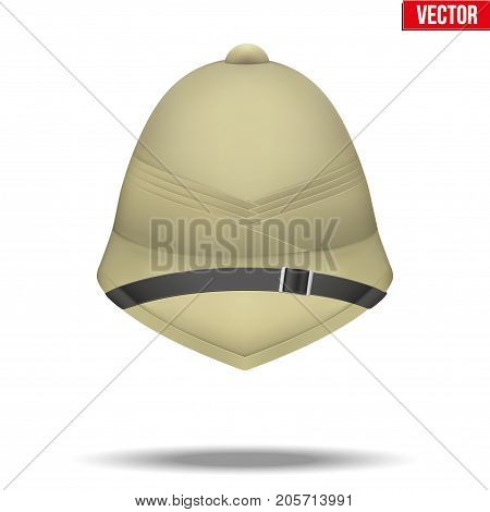 Background Cork Helmet hat for safari or explorer. Research and discover. Front view. Vector Illustration isolated on white background.