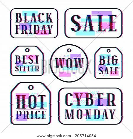 Set of sale discount tags labels emblems. Design with glitch distortion effect