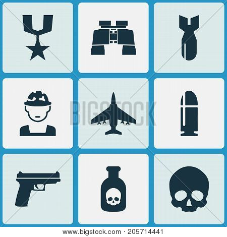 Warfare Icons Set. Collection Of Aircraft, Cranium, Slug And Other Elements