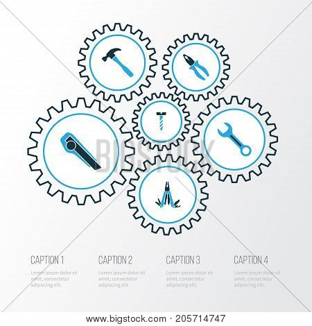 Handtools Colorful Icons Set. Collection Of Multifunctional Pocket, Spanner, Clamp And Other Elements
