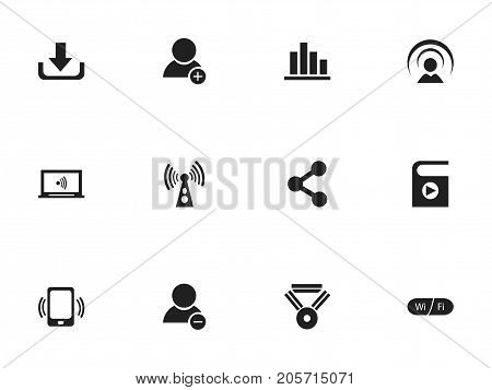 Set Of 12 Editable Internet Icons. Includes Symbols Such As Wifi, Download, Wireless Transmission And More
