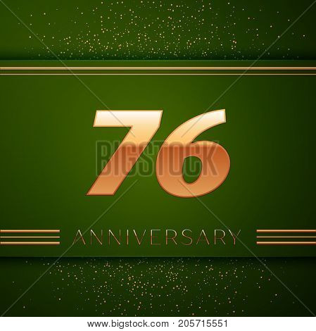 Realistic Seventy six Years Anniversary Celebration Logotype. Golden numbers and golden confetti on green background. Colorful Vector template elements for your birthday party