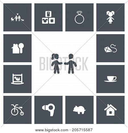Set Of 13 Editable Folks Icons. Includes Symbols Such As Infant Bed, Tea, Home And More