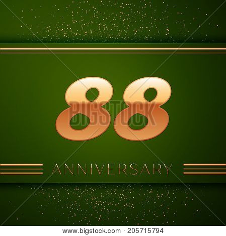 Realistic Eighty eight Years Anniversary Celebration Logotype. Golden numbers and golden confetti on green background. Colorful Vector template elements for your birthday party