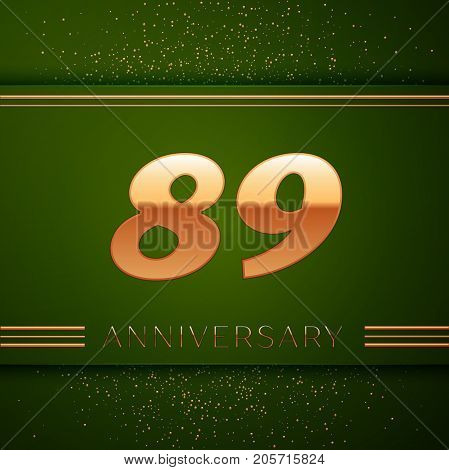Realistic Eighty nine Years Anniversary Celebration Logotype. Golden numbers and golden confetti on green background. Colorful Vector template elements for your birthday party