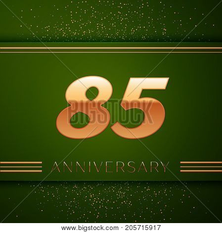Realistic Eighty five Years Anniversary Celebration Logotype. Golden numbers and golden confetti on green background. Colorful Vector template elements for your birthday party