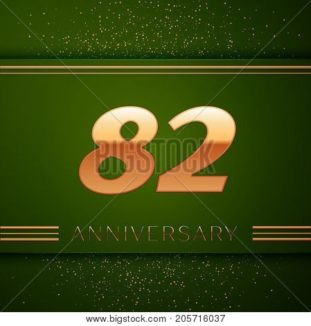 Realistic Eighty two Years Anniversary Celebration Logotype. Golden numbers and golden confetti on green background. Colorful Vector template elements for your birthday party