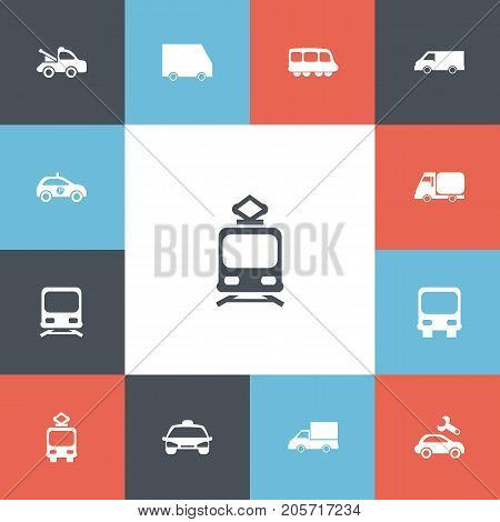 Set Of 13 Editable Transportation Icons. Includes Symbols Such As Food Transport, Taxi, Camion And More