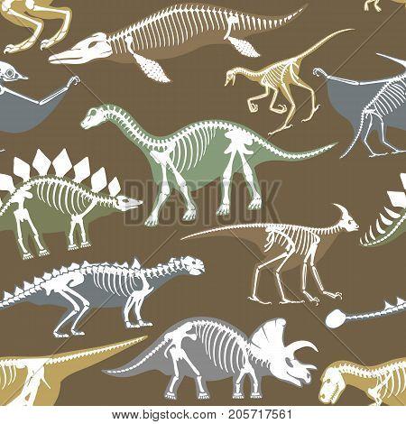 Dinosaurs skeletons silhouettes set fossil bone tyrannosaurus prehistoric animal and jurassic monster predator dino vector flat illustration.. Reptile extinct paleontology old bones seamless pattern