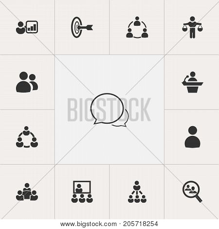 Set Of 13 Editable Business Icons. Includes Symbols Such As Goal, Member, Human Resouces And More
