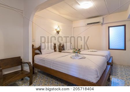 NAN THAILAND - OCT 23 : The Deluke room type of the Nan Lanna Hotel.is located at Nai Wiang Mueang Nan District on October 23 2016 in Nan Thailand