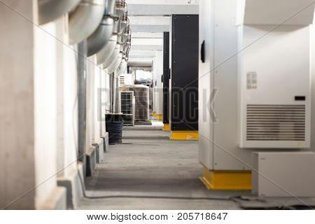 Modern, network server room in black and white