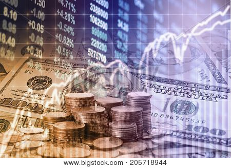 Stack of coins and american dollars money over the LED display Stock market exchange data background Business investment and trading concept, 3D illustration