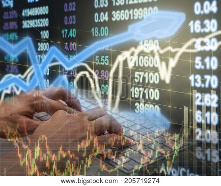 Hand using keyboard over the Stock market exchange trading chart background Business trading and technology concept, 3D illustration