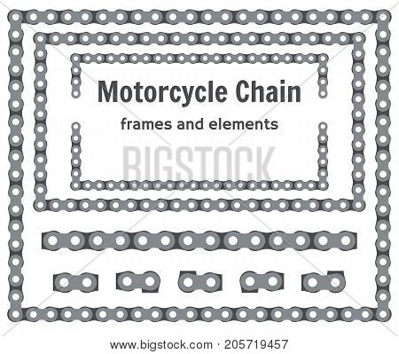 Motorcycle chain frames and elements vector set
