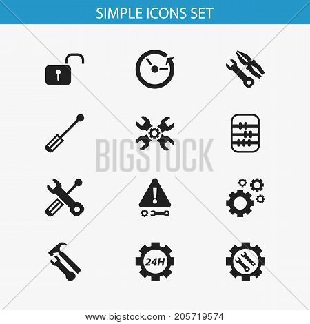 Set Of 12 Editable Tool Icons. Includes Symbols Such As Build Equipment, Settings, Cogwheels And More